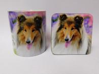 Rough Collie Dog Mug and Coaster Set