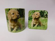 Cockapoo Fawn Puppy Dog Mug and Coaster Set