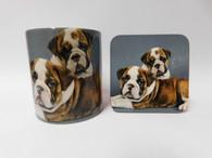 Bull Dog Puppies 2 Cute Bull Dogs Mug and Coaster Set
