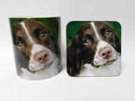 Springer Spaniel Brown & White Face Mug and Coaster Set