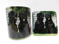 Russian Terrier Dog Mug and Coaster Set