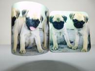 Pug Puppies Dog Mug and Coaster Set