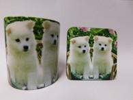 White Akita Puppies Mug and Coaster Set