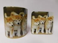 Akita Puppies Mug and Coaster Set