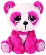 Lil Peepers Fun Orchid Pink Panda Plush Toy with Silver Sparkle Accents (Small)
