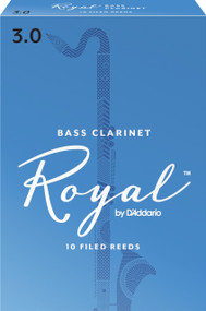 Rico Royal Bass Clarinet Reeds, Strength 3.0, 10-pack