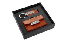 Saturn Engraved Brown Leather Matte Chrome Business Card Holder And Keychain Gift Set In Grey Deluxe Box