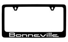 Pontiac Bonneville Black Coated Zinc License Plate Frame With Silver Imprint