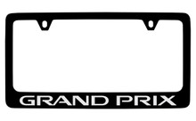 Pontiac Grand Prix Black Coated Zinc License Plate Frame With Silver Imprint