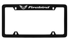Pontiac Firebird With 1 Fb Logo Top Engraved Black Coated Zinc License Plate Frame With Silver Imprint