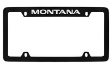 Pontiac Montana Top Engraved Black Coated Zinc License Plate Frame With Silver Imprint