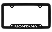 Pontiac Montana Bottom Engraved Black Coated Zinc License Plate Frame With Silver Imprint