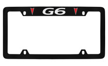 Pontiac G6 With 2 Red Logos Top Engraved Black Coated Zinc License Plate Frame With Silver Imprint