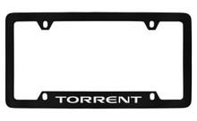 Pontiac Torrent Bottom Engraved Black Coated Zinc License Plate Frame With Silver Imprint