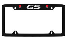 Pontiac G5 With 2 Red Logos Top Engraved Black Coated Zinc License Plate Frame With Silver Imprint