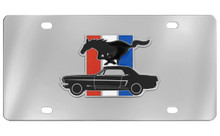 Ford Mustang And Pony Emblem With 3 Color Bar Attached To A Stainless Steel Plate