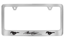 Ford Mustang Logo Chrome Plated Solid Brass License Plate Frame
