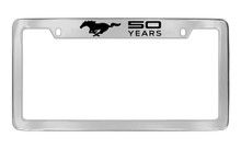 Mustang 50th Anniversary-50 Years With Single Pony-Top Chrome Plated Brass License Plate Frame With Black Epoxy