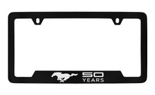 Mustang 50th Anniversary-50 Years With Single Pony-Bottom Engraved Black Coated Brass License Plate Frame With Clear Epoxy