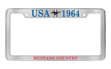 Ford USA 1964 With 3 Bar And Pony Top Engraved Chrome Plated Solid Brass License Plate Frame Holder With Colored Imprint