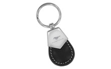 Mustang Black Tear Shaped Leather Keychain With Brush Satin Top