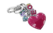 Chrome Plated Love Theme Magenta Purple Blue With Multi Color Czechoslovakia Crystals Keychain