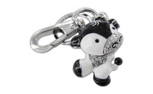 Chrome Plated Dancing Cow Black And White Color With Clear Czechoslovakia Crystals Keychain With Clasp