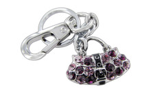 Chrome Plated Belt Strap Purse Warm Magenta And Pink Czechoslovakia Crystal Keychain With Clasp
