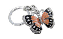 Butterfly Orange And Black Butterfly With Clear Crystals Keychain