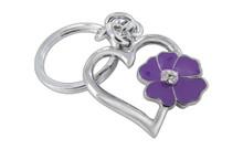 Chrome Plated Dual Sides Cutout Heard Purple Flower With Clear Stellex Crystal Keychain