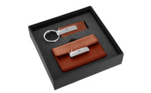 Mustang Engraved Brown Leather Matte Chrome Business Card Case And Keychain Gift Set In Deluxe Box