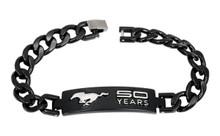 Mustang 50th Anniversary-Unisex 3D Raised Mustang 50 Years Logo Chrome On Black Bracelet