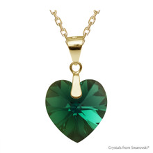 Emerald Xilion Heart Necklace Embellished With Swarovski Crystals (NE3G-205AB)