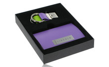 Lincoln Purple Business Card Holder And Purple And Green Keychain Set