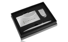 Lincoln Chrome Curve Line Money Clip, Business Card Case, And Ball Pen Gift Set In Deluxe Box (FOGBMPCC-E)