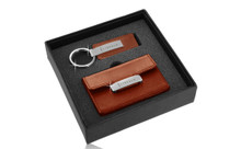 Lincoln Engraved Brown Leather Matte Chrome Business Card Case And Keychain Gift Set In Deluxe Box