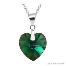 Emerald Xilion Heart Necklace Embellished With Swarovski Crystals (NE3R-205AB)