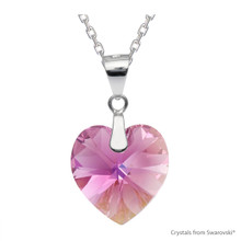 Rose Ab Xilion Heart Necklace Embellished With Swarovski Crystals (NE3R-209AB)