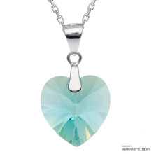 Light Turquoise Xilion Heart Necklace Embellished With Swarovski Crystals (NE3R-263AB)
