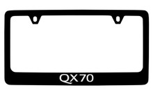 Infiniti QX70 Black Coated Zinc License Plate Frame Holder With Silver Imprint