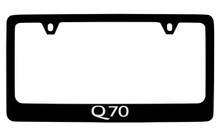 Infiniti Q70 Black Coated Zinc License Plate Frame Holder With Silver Imprint