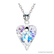 Crystal Aurore Boreale Wild Heart Necklace Embellished With Swarovski Crystals (NE4R-001AB)