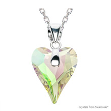 Crystal Luminous Green F Wild Heart Necklace Embellished With Swarovski Crystals (NE4R-001LUMG)