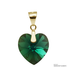 Emerald Xilion Heart Pendant Embellished With Swarovski Crystals (PE3G-205AB)