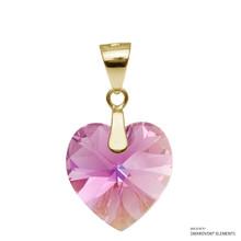 Rose Ab Xilion Heart Pendant Embellished With Swarovski Crystals (PE3G-209AB)