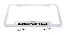 GMC Denali Chrome Plated Solid Brass Bottom Engraved License Plate Frame Holder With Black Imprint