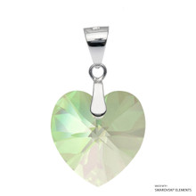 Crystal Luminous Green F Xilion Heart Pendant Embellished With Swarovski Crystals (PE3R-001LUMG)