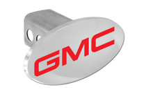 GMC Red Wordmark Oval Trailer Hitch Cover Plug