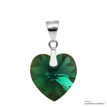 Emerald Xilion Heart Pendant Embellished With Swarovski Crystals (PE3R-205AB)