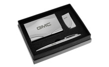 GMC Chrome Curve Line Money Clip, Business Card Case, And Ball Pen Gift Set In Deluxe Box